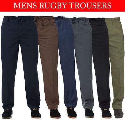 Mens Rugby Trousers Elasticated Waist Regular Casual Smart Work Pants All Waists