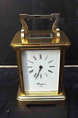 carriage clock glass and brass four sided 8 day mechanical movement, London