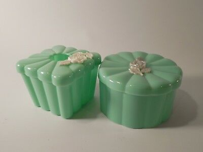 Vintage Pair of Menda Co Plastic Teal & White Floral Cosmetic Containers