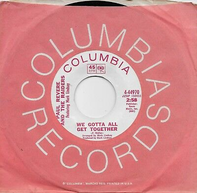 PAUL REVERE AND THE RAIDERS  We Gotta All Get Together  rare promo 45 from 1969