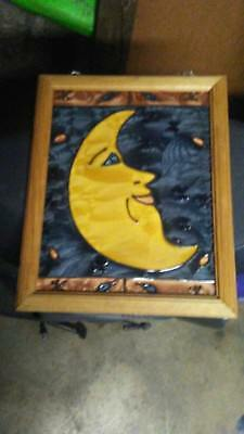 Unique Wood Framed Stained Glass Picture of Half Moon and Stars
