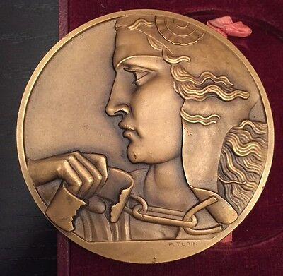 French 1946 Pierre Turin Red Cross Bronze Medal with Original Box