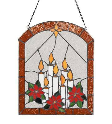 Stained Glass Indoor Candle and Poinsettia Window Art with Hanging Chain