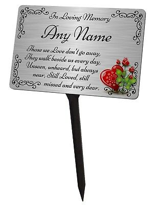 Personalised Memorial Plaque & Stake. Brushed Silver Waterproof garden grave