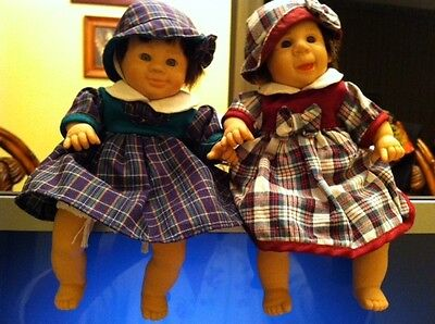 Vintage Two Sitting Dolls Kitchen Shelf Collectible Very Clean