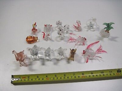 Mixed some Vintage Glass Small figures Elephant Fish Cat Birds Mushroom Bug