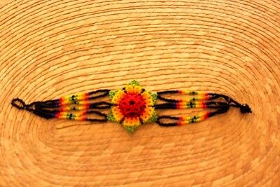 Unique Mexican huichol Bracelet Art Beaded Adjustable Jewelry Hand Made B-023
