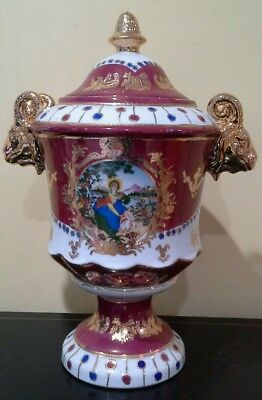 Large Vintage Pottery Urn Made in China Satsuma Repro (lot4325)