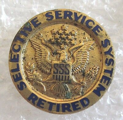 Vintage Selective Service System-US Government Employee Retired Award Lapel Pin