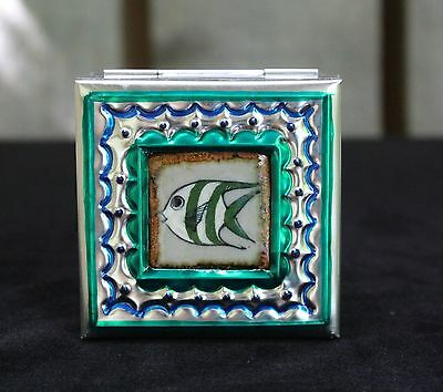 Sm Tin Box & Ceramic Tile of Angel Fish by Tirso Cuevas, Mexican Folk Art Oaxaca