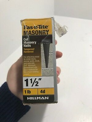 """Hillman Fas-n-lite Cut Masonry Nails Tempered/Hardened 1-1/2"""" 4d Box Opened New"""