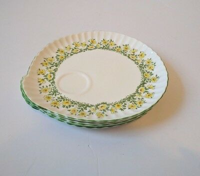 Vintage Set of 3 Crown Staffordshire Snack Plates English Fine Bone China Floral