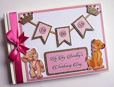 Personalised Lion King Simba & Nala /girl /first/birthday Guest Book Any Design