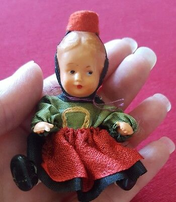 Vintage Rubber Vinyl Jointed Dollhouse Miniature Doll Made in Germany
