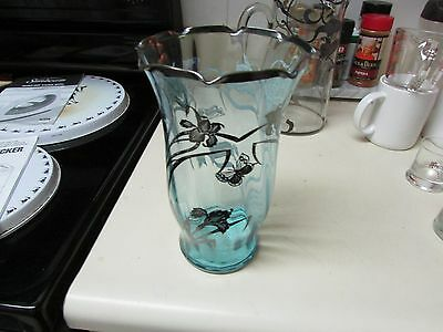 Vintage Glass Blue Vase with Silver/Pewter? Inlay