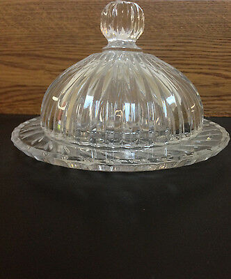 Vintage Crystal Glass Round Dome Heavy Covered Butter Cheese Dish