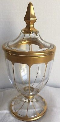 """Vintage Mid Century Atomic Lid Covered Glass Gold Candy Dish  9-1/4"""" Tall, Heavy"""