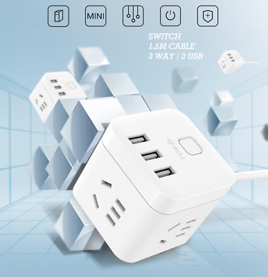 Bull Cube 3 Way Outlet Socket 3 USB Port 1.5M Power Board Surge Protector Trip