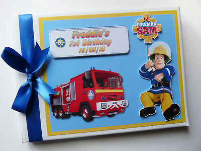Personalised Fireman Sam Boy/girl /first/1St Birthday Guest Book Any Design