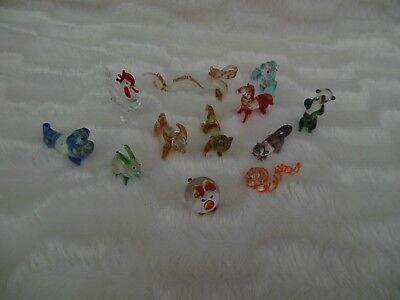Miniature Handblown Glass Figurines Lot of 12 Vintage Pig Dragon Rooster Bunny