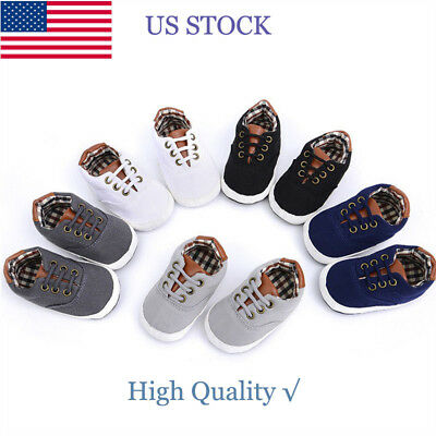 Baby Boy Blue Plaid Soft Sole Pram Shoes Trainers Newborn to 18 Month Pleased KM