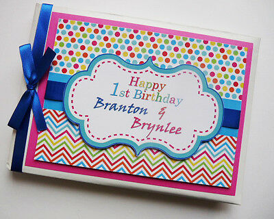 Personalised Chevron/girls /boys/first/1St Birthday Guest Book Any Design