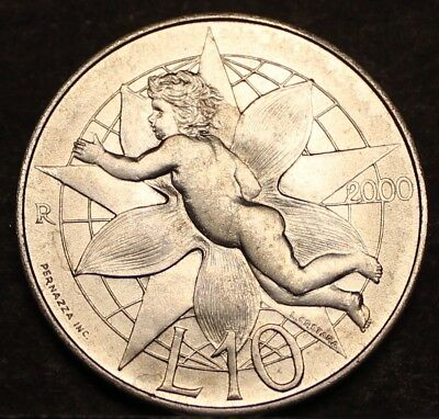 San Marino 10 Lire 2000-R Gem Unc~LOVE COIN~Child With Poinsettia~Free Shipping