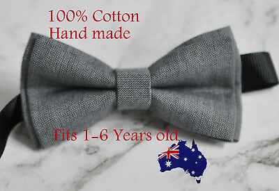 Boy Kids Baby 100% Cotton Mottled Grey Gray Bow Tie Bowtie Wedding 1-6 Years Old