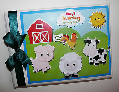 Personalised Farm Animals Boy/girl /first/1St Birthday Guest Book Any Design