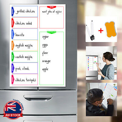 A3 Magnetic Fridge Whiteboard Weekly Calendar Planner White Board+ 2 Pens N