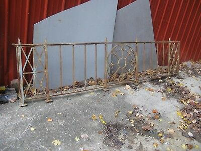 -Heavy Iron Ornate Fence Section-9 Feet 6 Inches By 26 Tall