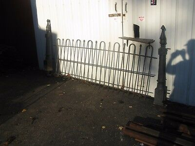 47 Feet Iron Fence-Loop And Acorn Style-2 Post--Antique Heavy Great Condition