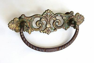 Single Antique Ornate Brass Metal Bail Drop Drawer Pull , 3""