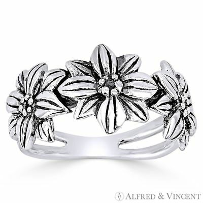 Triple-Flower Charm Splitshank Band Oxidized 925 Sterling Silver Right-Hand Ring