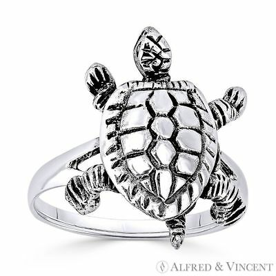 Tortoise / Turtle Animal 3D Charm Oxidized .925 Sterling Silver Right-Hand Ring