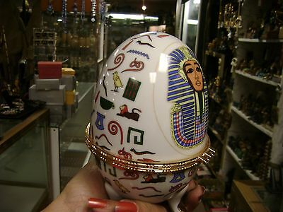Unique Egyptian Large King Tut Ceramic EGG JEWELRY  BOX  Hand Made in Egypt