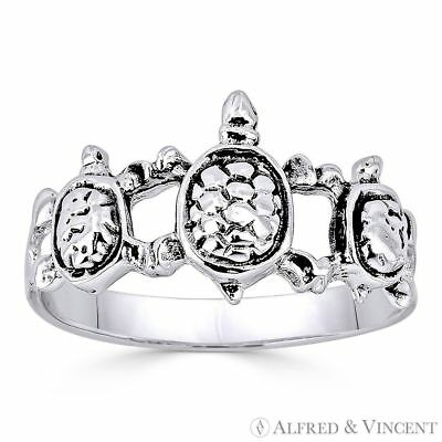 Triple Tortoise / Turtle Animal Charm Right-Hand Ring .925 Sterling Silver Band