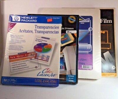 Lot of Color Laserjet Ink Jet and Plain Copier Transparencies + Mounting Frames