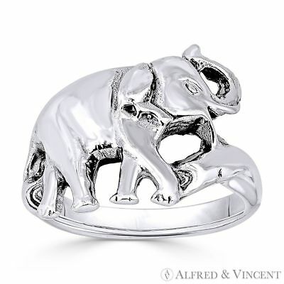 Elephant Animal Totem Charm Oxidized 925 Sterling Silver Right-Hand Fashion Ring