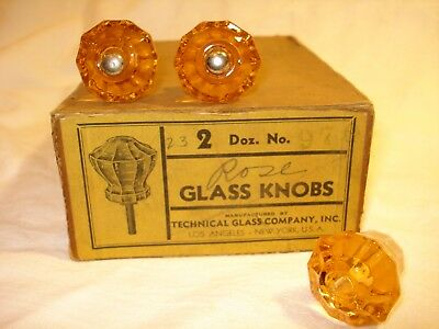 Antique Glass Cabinet Door Knob Canary Yellow 85 Yrs. Old - NOS! - 3 Knobs Total