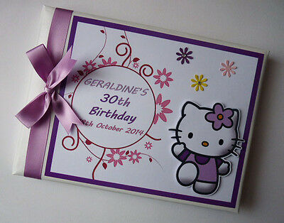 Hello Kitty (Any Colour) Girls/first/1St Birthday Guest Book Any Design
