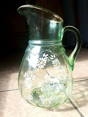Antique Northwood Glass Green Hand Enameled EAPG Pitcher