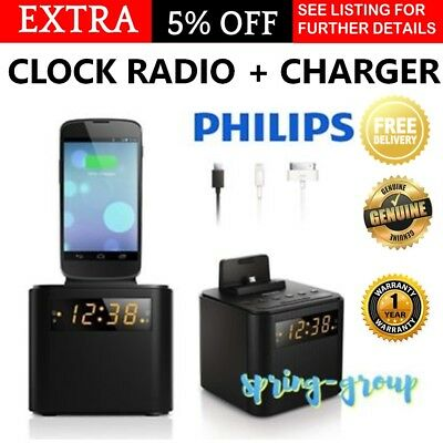 Philips Clock Radio Phone Charger Alarm iPhone Android Dock Cradle Digital FM