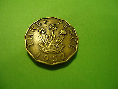 1952 English Brass Three Pence Coin             Combined Shipping