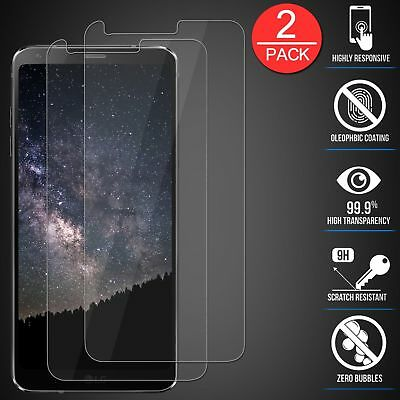 2Pcs Premium Tempered Glass Screen Protector Ultra-Clear Bubble Free For LG G6
