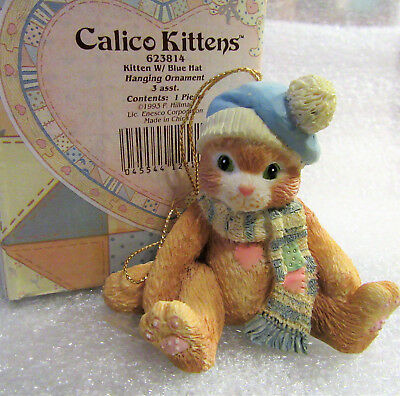Calico Kittens ~ Kitten with Blue Hat ~ Cat Kitty Hanging Ornament