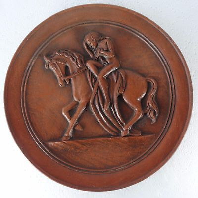 Mid Century 1954 Terracotta Clay Plate Nude Woman Riding Horse Artist Signed