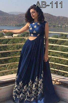 Indian Bollywood Designer Anarkali Gown Gorgious Neavy blue Combination AB 111