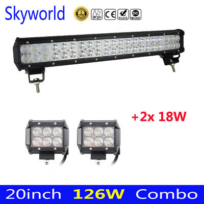"20inch 126W + 4"" 18W Spot Flood Combo Cree LED Work Light Bar Offroad Truck 24"
