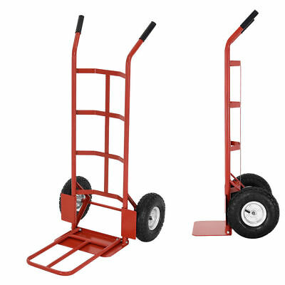 Heavy Duty Hand Sack Truck Trolley Industrial Pneumatic Tyres Folding Red Large
